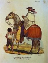 """Linati de Prevost, Livre de """"vêtements civils, militaires et religieux du Mexique"""" - Petit garçon demandant l'aumône à un voyageur"""