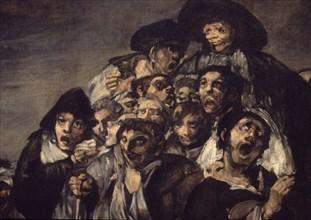 Goya, Pèlerinage de Saint Isidro (détail hommes chantant)