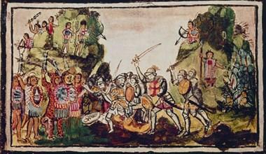 Duran, Hernan Cortés combattant les Indiens