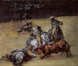 Anonyme, Corrida de taureaux avec piqueurs