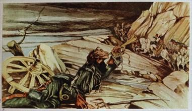 Simon Bolivar lors d'une bataille près de Casanare