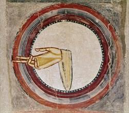 Peinture de Saint-Clément de Tahull : détail de la main de dieu