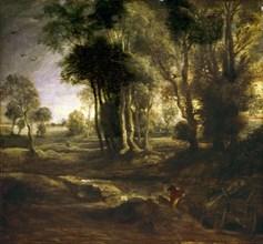 Rembrandt, Paysage avec un cavalier et sa charrette
