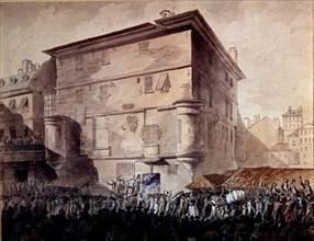 Gravure, Le peuple envahit l'abbaye de Saint Germain (1789)