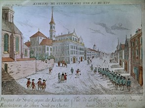 Soldats français passant dans la rue des Recollets à Québec