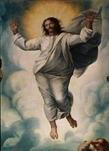 Raphaël, La Transfiguration du Seigneur (copie de Penni), détail de la partie supérieure centrale