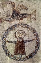 Détail d'une fresque murale de style roman