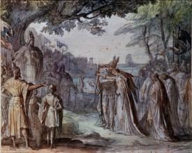 """Quaglio, Scène de l'opéra """"Lohengrin"""" de Richard Wagner"""