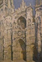 Monet, Cathédrale de Rouen, le portail et la tour Saint Romain, plein soleil, harmonie bleue et or