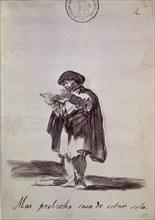 Goya, dessin satyrique (Je tire plus de profit à être seul)