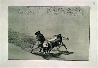 """Goya, Tauromachie """" El Diestrismo estudiante de falces """""""