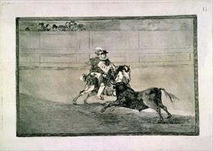 Goya, Tauromachie- Chevalier espagnol dans l'arène