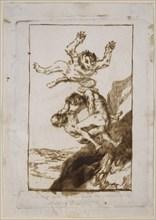 Goya, dessin (Du plus haut de leur vol s'élancent les sorcières arrogantes)