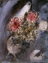 Chagall, Femme, fleurs et oiseau
