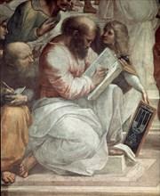 Raphaël, L'École d'Athènes - Détail, Pythagore et Averroès