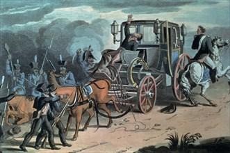 Attaque de la berline de Napoléon par les Prussiens à Waterloo