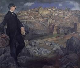 Zuloaga, Portrait de Auguste Maurice Barrès devant Tolède