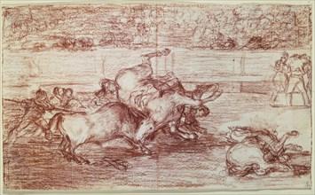 Goya, Cheval renversé par un taureau - Tauromachie