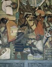 Rivera, Marché de Tlatelolco – Troc de produits