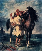 Delacroix, Arabe sellant son cheval