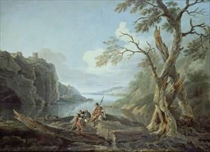 Constantin, Paysage avec des guerriers au bord d'une rivière.