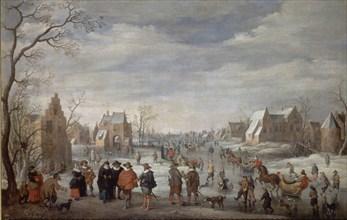 Droochsloot, Paysage hivernal avec des patineurs sur glace