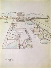 Le Corbusier, Dessin de l'ensemble architectural de Chandigarh