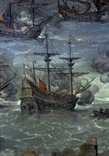 Zurbaran, Défense de Cadix contre les Anglais - Bataille navale (détail)
