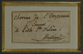 """Relique, """"Cheveux de l'Empereur coupés à l'isle de Ste Hélène"""""""