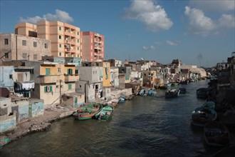 Alexandrie, habitations du bord du Nil