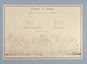 Traité d'artillerie : Affûts d'obusier de 12 en batterie, et mulets chargés