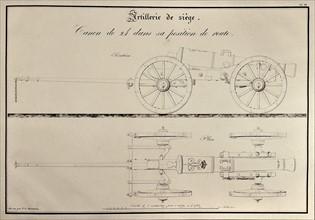 Traité d'artillerie : Canon de 24 dans sa position de route