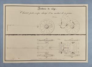 Traité d'artillerie : Chariot porte-corps chargé d'un mortier de 12 pouces