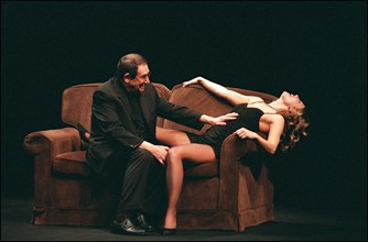 """02/27/2002. Actor-director Robert Hossein stars in Jean-Paul Sartre's """"Huis Clos"""" with Natacha Amal and Melanie Page."""