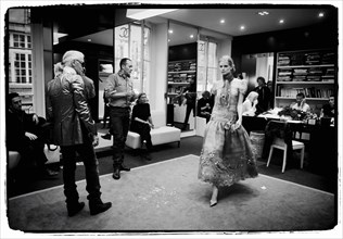 01/00/2004.  Chanel Fashion Designer Karl Lagerfeld, backstage of the Haute Couture Spring-Summer 2004 fashion show.