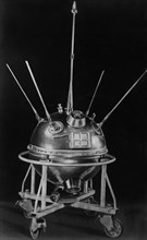 Soviet space probe luna-1 (lunik) prior to launch in 1959, i t was the first space craft to escape earth's orbit.