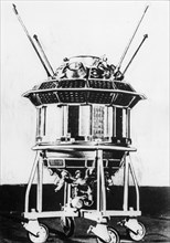 Soviet lunar probe, luna 3 on it's assembly carriage, ussr, 1959.