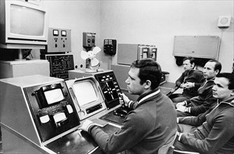 Luna 21 mission, the crew of the soviet remote-controlled lunar rover, lunokhod 2 working the controls at the distant space communications center,  january 1973.
