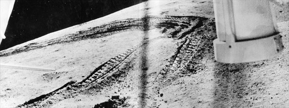 Luna 21 mission, tracks on the surface of the moon made by the soviet remote-controlled lunar rover, lunokhod 2, part of a series of panoramic images taken by the rover on february 18, 1973.