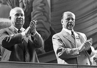 Nikita khrushchev and walter ulbricht during the 5th conference of the socialist unity party in berlin, east germany.