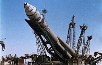 Vostok 1 rocket being prepared for launch, 1961.