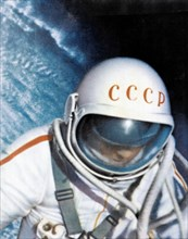 Voskhod 2 mission, soviet cosmonaut alexei leonov during world's first space walk (eva) in 1965.