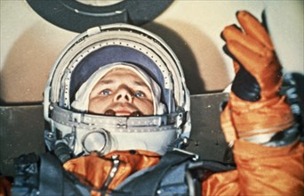 Cosmonaut yuri gagarin inside the vostok 1 space capsule just prior to his flight, 1961.