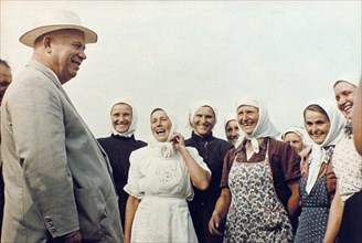 Nikita khrushchev meeting women farmers during his nation wide trip through the ussr, early 1960s.