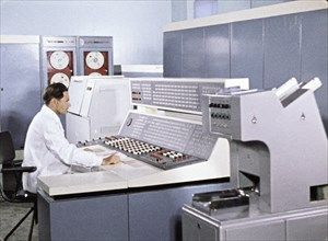 Coordinating computer center' for soviet space mission, venera 5 and 6, 1969, this is a still from the film 'the storming of venus', produced by e, kuzis at the tsentrnauchfilm central scientific film...