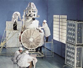 Soviet space probe venera 5 or 6 being prepared for it's launch in january 1969, this is a still from the film 'the storming of venus', produced by e, kuzis at the tsentrnauchfilm central scientific f...