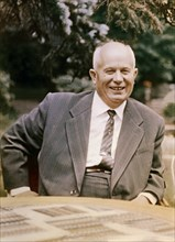 Nikita khrushchev, first secretary of the communist party of the soviet union, chairman of the ussr council of ministers, late 1950s.