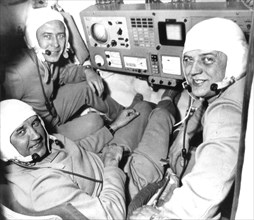 Soviet cosmonauts georgy dobrovolsk (rear), viktor patsayev (left), and vladislav volkov in the cabin of the soyuz 11 space craft, all three died on this mission in 1971.