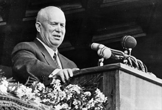 Nikita khrushchev, first secretary of the cpsu central committee, speaking at a large meeting of workers in baku, azerbaijan ssr in 1960.