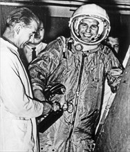 Soviet cosmonaut pavel popovich during tests and training prior to his space flight aboard vostok 4.